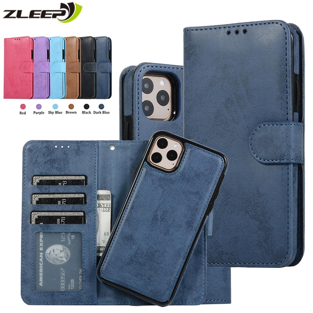 Funda removible de cuero de lujo para iPhone SE 2020 12 Mini 11 Pro XR XS Max 6 6s 7 8 Plus 5 5s, billetera con tapa para tarjetas
