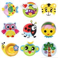 동물 만화 종이 접시 드로잉 DIY 수제 공예 장난감 재료 패키지, 어린이 크리에이티브 퍼즐 장난감 다채로운 종이 접시