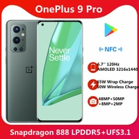Original OnePlus 9 Pro 5G Smart telefon Snapdragon 888 6.7 ''3216x1440 120Hz Bildschirm 65W wrap Ladung 50W Drahtlose Lade NFC