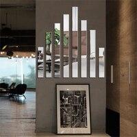 20Pcs 허리 라인 아크릴 3d 미러 벽 스티커 거실 간단한 라인 스티커 침실 기하학 사각형 홈 장식