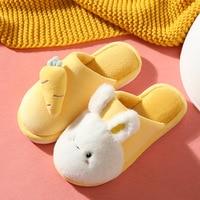 Winter House Fur Slippers Warm Cotton Shoes Cute Lovely Cartoon Rabbit Indoor Bedroom Women Men Ladies Lovers Furry Slides 2021