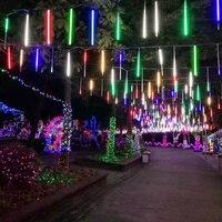 LED 비 빛 유성관 샤워 비 끈 8 튜브 30cm 50cm 조명 웨딩 파티 크리스마스 정원 야외 장식 조명