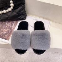 Furry Fur Slippers Women Summer Flat Non-slip Faux Fur Slides Fluffy Slippers Ladies Sandals Female Flip Flops Woman House Shoes