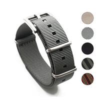 프리미엄 품질 헤링본 20mm 22mm 그레이 시계 밴드 나일론 나토 스트랩, 밀리터리 시계 남성 액세서리