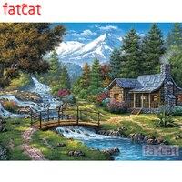 FATCAT 5d diy יהלומי ציור שלג הרי נהר מפל צריף נוף מלא כיכר עגול תרגיל יהלומי רקמת מכירה AE2257
