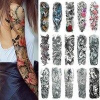 25 Design Waterproof Temporary Tattoo Sticker Full Arm Large Size Arm Tatoo Flash Fake Tattoos Sleeve for Men Women Girl #288345