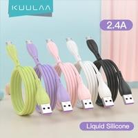KUULAA USB Ladegerät Kabel Micro USB Schnelle Schnur Für Samsung Xiaomi Android Tablet Handy Flüssigkeit Silikon Ladekabel