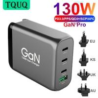 4port 130W GaN USB C Wand Ladegerät, 3-port Typ-C PD 100W PPS 45W für Laptops MacBook iPhone Samsung, QC3.0/SCP für Huawei Xiaomi