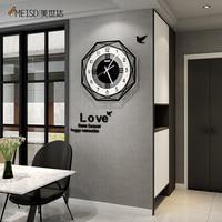 MEISD 다각형 벽시계 크리에이티브 모던 디자인 시계 벽걸이 블랙 벽걸이 홈 데코 거실 주방 룸 무료 배송