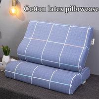 Zipper Type Latex Pillow Cases Strip Plaid Soft Cotton Pillowcase Comfortable Bedroom Sleeping Memory Foam Cushion Cover