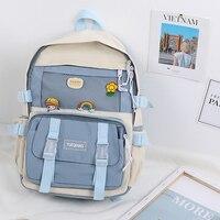 SenkeyStyle School Backpack for Girl Women Preppy Style Cream Color Backpacking Bag Teenager Kawaii School Bag Youth Collage