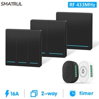 SMATRUL 16A 미니 433mhz 스마트 무선 DIY 스위치 라이트 220v RF 모듈 전기 지원 2 웨이 타이밍 제어 홈 램프 켜기 끄기