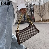 [EAM] נשים חדש מתכת שרשרת משובץ דפוס צמר בד דש אישיות כל התאמה Crossbody כתף תיק אופנה 2021 18A0066
