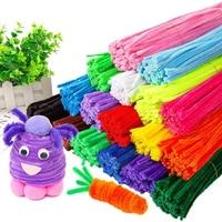 어린이 크리에이티브 컬러풀 Diy 플러시 셔닐 스틱 100 개, 셔닐 스템 파이프 클리너 스템, 교육용 장난감 공예