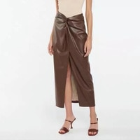 Women's PU Skirt Brown Faux Leather High Waist Elegant Skirt Female Solid Fashion Chic Skirt Ladies Office Midi Skirt Autumn trf