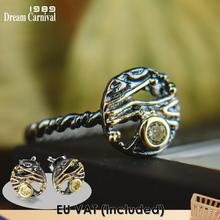 Dreamcarnival1989 מוגזמת בציר שחור זהב צבע נשים זירקון עגול עגילים-טבעת סט קטן חמוד שבת תכשיטי WE3958S2