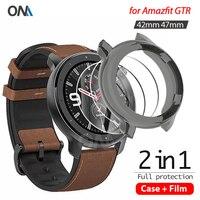 2 + 1 보호기 케이스 + 화면 보호기 Huami Amazfit GTR 42MM 47MM 스마트 워치 소프트 TPU 보호 커버 강화 유리 필름