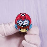 Super-Mario Bros Enamel Pin Mariooo Head Brooch Retro Video Game Badge Backpack Fashion Jewelry Gift