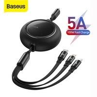 Baseus 100W USB C Kabel Für iPhone 12 Versenkbare 3 in 1 Typ C Micro USB Kabel Schnelle Ladung für Macbook Samsung Daten Draht Kabel