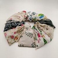 100 개 패턴 스타일 황마 가방 자루 코튼 가방 졸라 크리스마스 선물 가방 보석 선물 포장 가방 웨딩 파우치 Diy