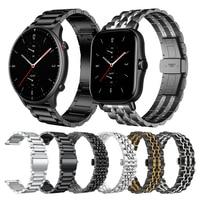 Huami Amazfit GTR 2 시계 용 클래식 메탈 스테인레스 스틸 손목 밴드 GTS2 Bip S & Stratos 3 Bracelet Watchbands