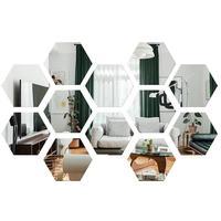 12pcs Hexagonal 3D Mirror Wall Stickers Acrylic Mirror Sticker Home Wall Decals DIY Art Mirror Wall Mural Decoration (4x4cm)