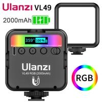 Ulanzi VL49 ניתן לעמעום RGB LED וידאו אור מנורת מעודכן גרסה ססגוניות טלפון מצלמה LED מנורת צילום סטודיו תאורה Vlog