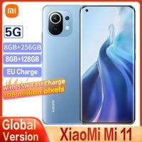 Original Globale Xiaomi Mi 11 8GB + 256GB 5G Version Smartphone Snapdragon 888 Octa Core 100 Millionen pixel 120Hz Aktualisieren Bildschirm