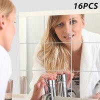 16PC 15x15cm 거울 벽 스티커 광장 자기 접착 아크릴 거울 타일 스티커 침실 욕실 홈 장식 벽화