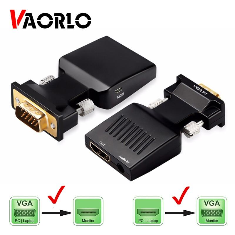 Adaptador convertidor VGA a HDMI, compatible con 1080P, adaptador VGA para PC, portátil a HDTV, proyector de Audio y vídeo, HDMI, compatible con VGA