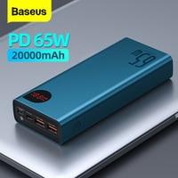 Baseus 65w power bank 20000mah carregamento portátil powerbank bateria externa pd qc 3.0 carregador 22.5w poverbank 20000