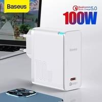Baseus 100W GaN Ladegerät Typ C USB Ladegerät PD 3,0 QC 5,0 PPS Quick Charge für iPhone 12 Xiaomi macbook Tragbare Telefon Ladegerät