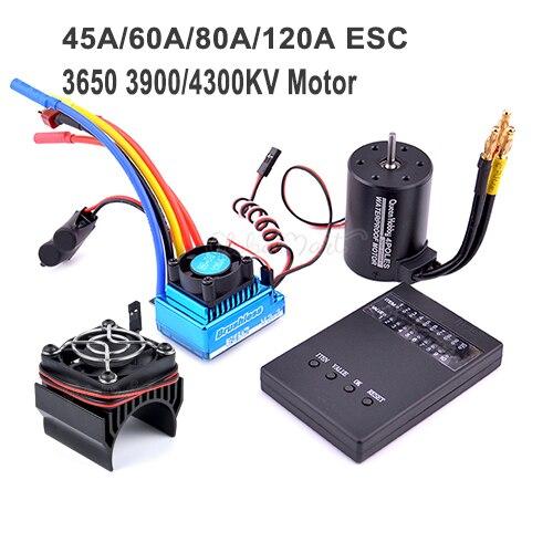 3650 3900kv 4300kv Motor sin escobillas/45A 60A 80A 120A sin escobillas ESC controlador de velocidad eléctrica a prueba de polvo para 1:10 1/10 coche RC