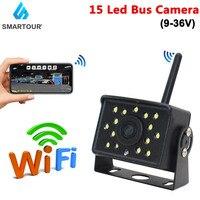 Drahtlose Wifi Auto Backup Kamera 15 LED HD Rückansicht Kamera 9V-36V Heavy Duty Nachtsicht für RV Bus Lkw Anhänger Für Telefon