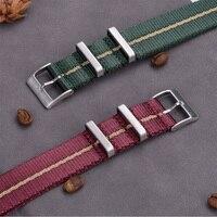 프리미엄 품질 나토 시계 스트랩 나일론 20mm 22mm 제임스 본드 디자인 그레이 나토 시계 밴드 피부 친화적 인 신소재