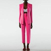 Za Women's Blazers Set Pant Suits Office Ladies Elgant Chic Blazer Jacket Solid Coat Two Piece Blazer Suit With Belt Pant Autumn