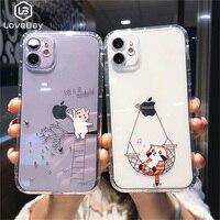 Lovebayかわいい猫塗装ケースiphone 12プロマックス11プロマックスxs最大xr × 7 8プラスクリア耐震カメラ保護カバー