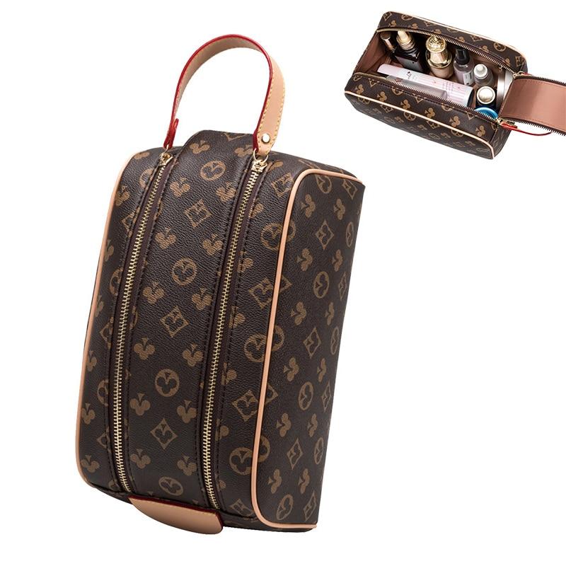 Mode Tragbare Wash Bag Einfache Große-Kapazität Reise Handtasche Schönheit Lagerung Tasche 2021 Koreanische Neue Doppel-reißverschluss Kosmetik Tasche