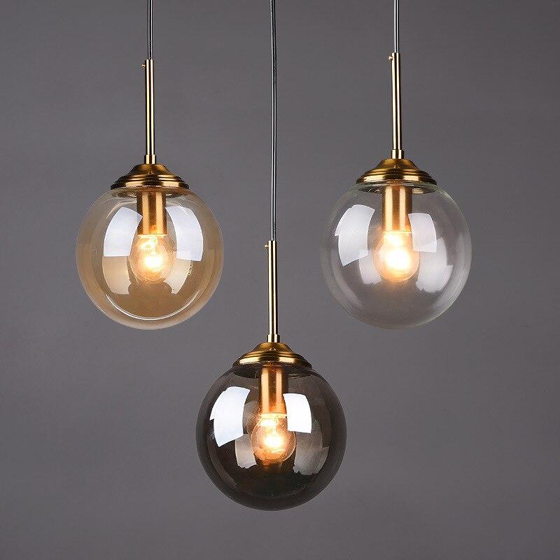 Moderne Glas Ball Anhänger Lichter E14 Gold LED Hängen Lampe Vintage Decor Beleuchtung Leuchte für Wohnzimmer Schlafzimmer Küche Loft