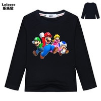 Classic games Mario t shirt Super Bros Boys and girls Long Sleeve Cartoon Tops hip hop streetwear Clothes For Children