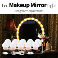 12V USB LED 화장대 거울 LED 램프 LED 할리우드 메이크업 조명 드레싱 테이블 거울 전구, 조도 조절 가능한 욕실 벽 램프