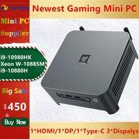 TOPTON 10th Gen Xeon W-10885M Intel i9 10980HK Gaming Mini PC 2 LANS Windows 10 2 * DDR4 NVMe Nuc mini Computer DP HDMI Typ-C 4K