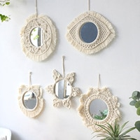 Macrame 짠 벽 마운트 거울 절묘한 술 장식 메이크업 거울 Boho 스타일 수제 태피스 트리 홈 장식