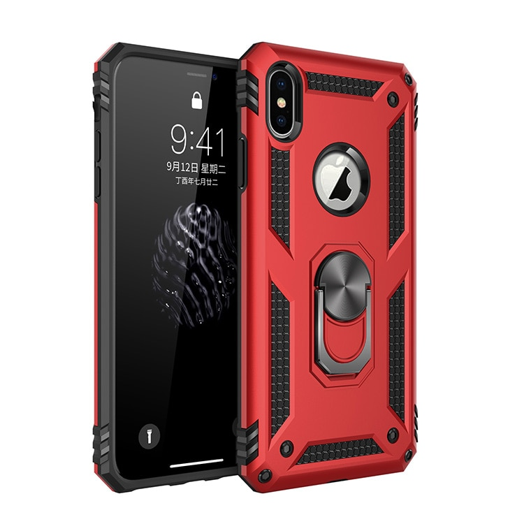 Funda protectora resistente para teléfono móvil iPhone, carcasa rígida con anillo magnético a prueba de golpes para iPhone X XR XS 11 Pro Max 6 6S 7 8 Plus