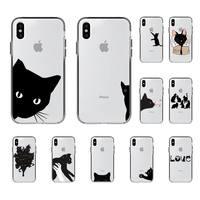 Yndfcnbかわいい黒猫電話ケースiphone 8 7 6 6sプラスx 5s、se 2020 xr 11 12ミニプロxs最大
