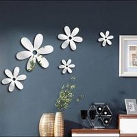 6PCs/Set DIY 3D Mirror Wall Sticker Decal Flower Acrylic TV Background Art Mural Home Decor Fridge Wall Decal Bathroom Supplies
