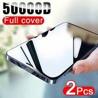 50000D 2個フルカバーiphone 12 11 pro x xr xs最大強化ガラスiphone 6s 7 8プラス12ミニガラスフィルム