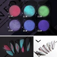 6Pcs/Kit Tl Nail Poeder Nail Glitters Fosfor Lichtgevende Kristallen Zand Pigment 3D Nail Art Decoraties Glow In donker Stof