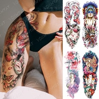 Large Arm Sleeve Tattoo Ninetales Sakura Cat Demon Waterproof Temporary Tatto Stickers Japanese Body Art Full Fake Tatoo Women
