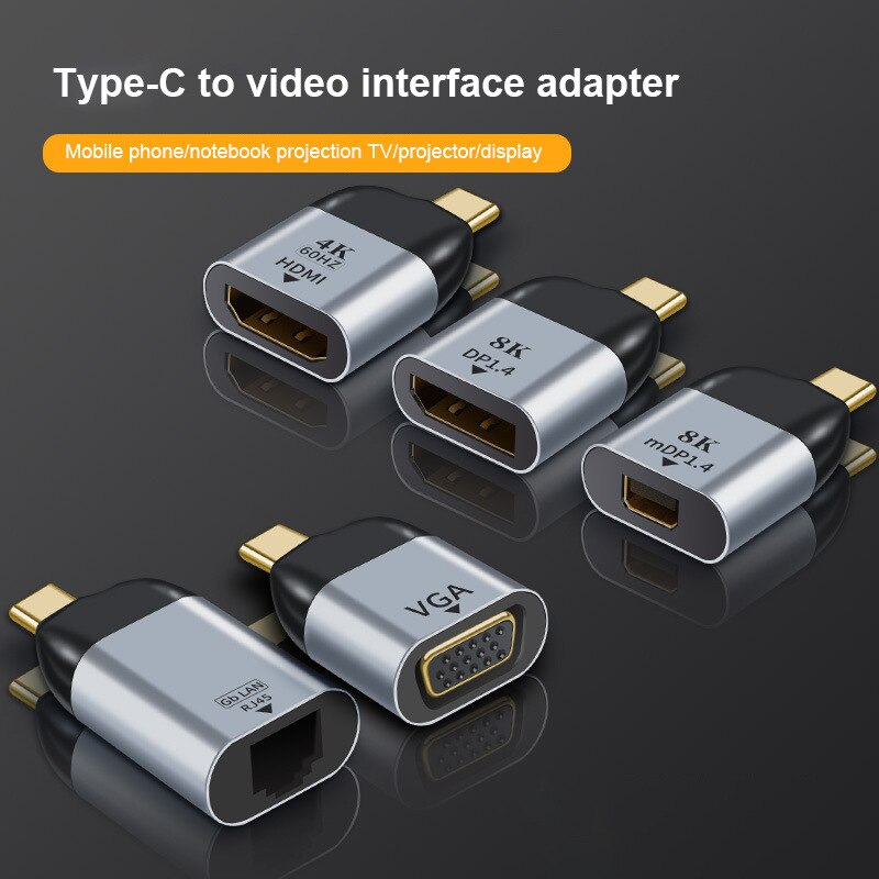 Type-C To HDMI-compatible/VGA/DP/RJ45/Mini DP HD Video Converter 4K 60Hz For MacBook Huawei Mate 30 USB-C HUB Type C Adapter